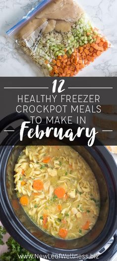 12 Healthy Crockpot Freezer Meals to Make in February Are you looking for new recipes to try this month? I've got you covered. I came up with a list of 12 crockpot recipes that are super easy to throw together in the morning. If you're motivated… Make Ahead Freezer Meals, Crock Pot Freezer, Freezer Cooking, Healthy Crockpot Freezer Meals, Easy Meals To Make, Freezer Meal Recipes, Crock Pot Healthy, Meals That Freeze Well, Crockpot Dump Recipes