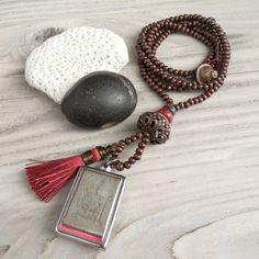 Long Mala Tassel Necklace Buddha Shrine Pendant by GypsyIntent, $67.00