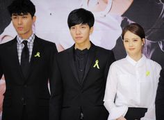 Cha SeungWon, Lee SeungGi and ARA - the cast of SBS drama 'You're surrounded' shows respect to the victims of Sewol ferry disaster at the press conference.