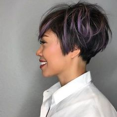 All sizes | Messy Graduated Pixie on Black Hair with Purple Highlighted Fringe | Flickr - Photo Sharing!