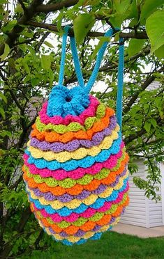 Crochet Colorful Spring Petals Backpack with Free Pattern