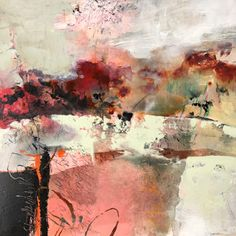 """Daily Painters Abstract Gallery: Contemporary Abstract Landscape Painting """"The Heart of the Morning"""" by Intuitive Artist Joan Fullerton"""