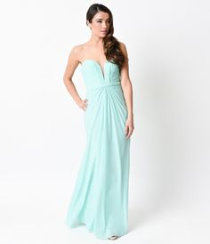Mint Strapless Mesh Knit Sweetheart Sexy Long Column Gown 2016 Prom Dresses
