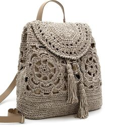 EDINBURGH BACKPACK - Magenta Arty Workshop Crochet Wool, Crochet Shoes, Crochet Clothes, Crochet Bag Tutorials, Crochet Crafts, Crochet Handbags, Crochet Purses, Crochet Backpack Pattern, Mochila Crochet