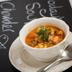 Nom Nom. The recipe for this delicious chowder can be found on our Health Guide in Your Pocket app for iPhone. http://ift.tt/2cd3sWB