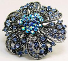 #Vintage Blue Rhinestone Brooch #jewelry by jujubee1 on Etsy, $14.00