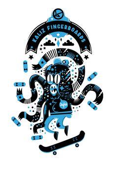 T-shirts Kaliz Fingerboards | illustration by New Fren, via Behance