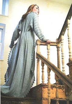 Ravelry: Dressing Gown pattern by Jennie Atkinson. Just wish I could knit or crochet {whichever technique this is! Dressing Gown Pattern, Dress Patterns, Knitting Patterns, Lace Patterns, Mode Boho, Jacket Pattern, Kaftan, Knit Dress, Hand Knitting