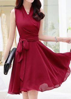 Burgundy V Neck Sleeveless High Waist Dress