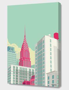 Remko Heemskerk :: Colorful New York City Illustrations - Chrysler building New York Illustration, Building Illustration, Illustration Example, Chrysler Building, Poster Design, Design Art, Grid Design, Print Poster, Poster Wall