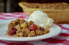 Sour Cherry-Rhubarb Crisp. Just perfect – a little tart, a little sweet, and so so juicy.