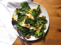 Salad Re-do: Kimchi, Spinach, Sharp Cheddar, Fried Egg