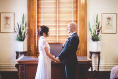groom and bride at melbourne registry wedding