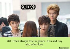exo cute facts - Chen , Kris y Lay Exo Facts, Funny Facts, Random Facts, Random Stuff, Kyungsoo, Chanyeol, Exo Sign, Font Face, Xiuchen