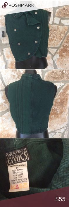 """Vintage 90's western green denim striped vest Vintage 90's western ethics brand green denim striped vest Has a double breasted thing going on Very fitted.  Silver buttons  Size states medium but I say this is a small Measures 17"""" across chest  Condition is excellent. western Ethics Jackets & Coats Vests"""