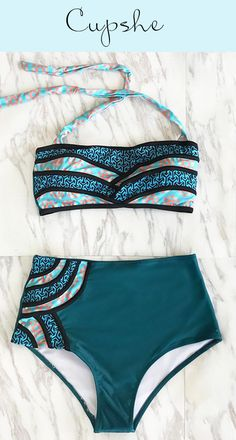 Live life on the beach~ Faster shipping! It has halter design and high-waisted fit, which can support your perfect body. Just stay in style with Cupshe Seascape Painting Halter Bikini Set. Check them out.