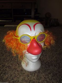 Clown Wig Glasses and Red Nose Orange Hair Greatest show on earth #Unbranded