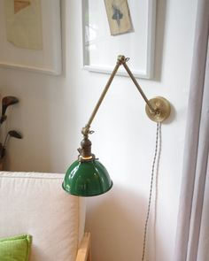 Articulating Industrial Wall Lamp - O.C. White Style Brass Scissor Lamp with Gas Station Green Porcelain Enamel Shade