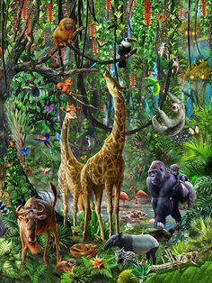 Крупнейшая головоломки в мире Jungle Life, Jungle Art, Jungle Animals, Forest Animals, Nature Animals, Animals And Pets, Cute Animals, Wildlife Paintings, Wildlife Art