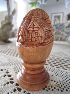 carve wood eggs | Relief Carved Egg Church by CarvingsandMoore on Etsy