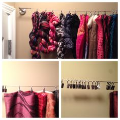 My new scarf storage behind closet door. Purchased the kit from IKEA with fine cable with clips attached. (The kit was displayed at IKEA with photo snapshots) I thought it would work for my scarves. Scarf Storage, Closet Doors, Things To Think About, Ikea, Scarves, Cable, Home Decor, Scarfs, Cabo