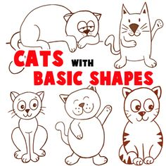 This guide will show you how to draw many different cats…all with simple geometrical shapes, letters, and numbers. If you can draw numbers and letters than you can also draw these comic-styled cats and kittens. There are several cat drawing tutorials below and you can take bits and pieces from each of these tutorials to creatively design your own kitty cat cartoon characters.