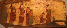 Lastra a decoració policroma, 540-530 aC, fusta pintada, Museu Arqueològic Nacional d'Atenes 16464.