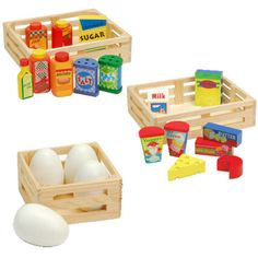 Wooden Eggs, Dairy & Condiment Play Sets $45