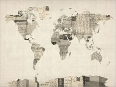 Map of the World from old postcards. Very cool, I'd like to try something like this. This Etsy shop has a lot of cool map prints.