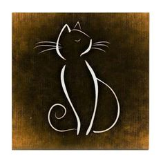 Tile Coaster by – CafePress Liven up any room or party and protect your surfaces with our distinctive tile coasters. Square coaster measuring x thick… Cat Drawing, Line Drawing, Cat Tattoo Designs, Cat Silhouette, Tile Coasters, Animal Drawings, Easy Drawings, Rock Art, Doodle Art
