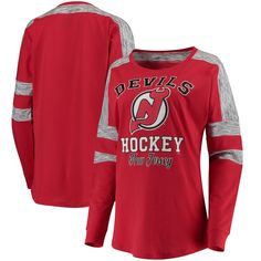 New Jersey Devils 5th & Ocean by New Era Women's Baby Jersey Long Sleeve Crew Space Dye Inserts T-Shirt - Red