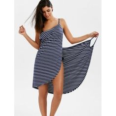 Striped Open Back Multiway Wrap Cover-ups Dress -