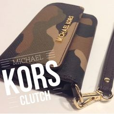 LAST CHANCE Michael Kors iPhone 5 Clutch Used once, great condition. 2nd and 3rd photos are of actual wristlet. Camo design. Michael Kors Bags Clutches & Wristlets