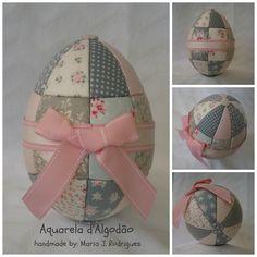 Ovo de Páscoa em patchwork embutido. Easter Egg - Kimekomi patchwork  http://aquareladalgodao.blogspot.com