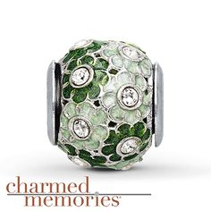 Charmed Memories Green Flowers Charm Sterling Silver