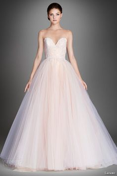 lazaro fall 2015 wedding dresses bridal pretty tulle ball gown strapless sweetheart ruched floral embroidery and chantilly lace underlay chapel lz3557 #pink #blush #weddingdress #ballgown