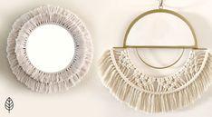Anthropology inspired macrame mirrors using scraps and materials under $10. Diy Macrame Wall Hanging, Macrame Mirror, Macrame Cord, Macrame Knots, Cool Mirrors, Diy Mirror, Round Mirrors, Macrame Tutorial, Tutorials