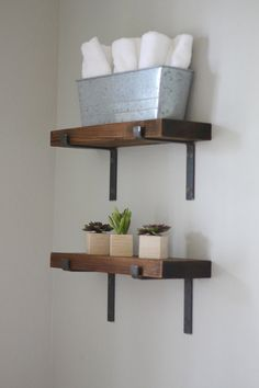 Elegant Black Shelf Brackets, Modern Shelving Hardware Metal, Screws Included