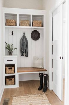 Mudroom & Laundry - Oakstone Homes Bench With Storage, Built In Bench, Built In Storage, Vertical Storage, Bench Mudroom, Mudroom Laundry Room, Mudroom In Closet, Handmade Bookshelves, Small Mudroom Ideas