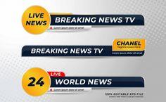 Бесплатно векторы | Набор современных баннеров нижней трети из трех Broadcast News, Live Television, Live Breaking News, Lower Thirds, Banner Template, Tv, Banner Design, Lorem Ipsum, Concept