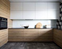 Kitchen Room Design, Living Room Kitchen, Kitchen Colors, Interior Design Kitchen, Black Kitchen Countertops, Maple Kitchen Cabinets, Wooden Kitchen, Minimalist Kitchen, Kitchen Styling