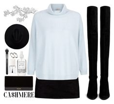 """Cozy Cashmere Sweaters"" by aguniaaa ❤ liked on Polyvore featuring Herbivore, Boohoo, Stuart Weitzman, Hobbs, Balmain, Christian Dior, MAC Cosmetics and ASOS"