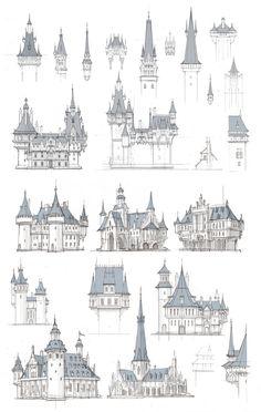 Fantasy City, Fantasy Castle, Fantasy Places, Fantasy Map, Fantasy World, Environment Concept Art, Environment Design, Historical Architecture, Architecture Art