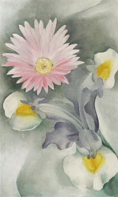 Pink Daisy with Iris by Georgia O'Keeffe. Precisionism. flower painting