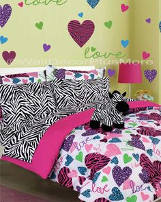 animal print hearts vinyl wall decals set girls bedroom decor