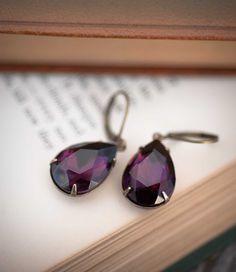 Amethyst Earrings Estate Style Dangle Vintage Earrings Bridal Party Jewelry Dark Purple Bridesmaids Gift. $22.00, via Etsy.