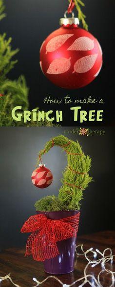 A mini Grinch tree DIY