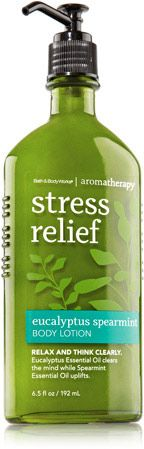 Eucalyptus Spearmint - (stress relief) - Aromatherapy- I love anything in this scent (lotion, body wash, sugar scrub, body spray, oil, hand soap, pillow spray)
