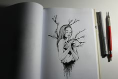 #sketching #girl #tree  Love it