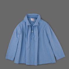Gallego Desportes Long Sleeve Antik Collar Shirt in Medium Blue Angle1